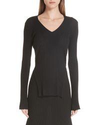 Stella McCartney - Front Slit Wool & Silk Sweater - Lyst