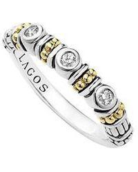 Lagos - Three Diamond Stacking Ring - Lyst