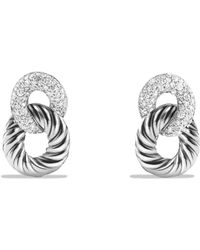 David Yurman - Belmont Curb Link Drop Earrings With Diamonds - Lyst