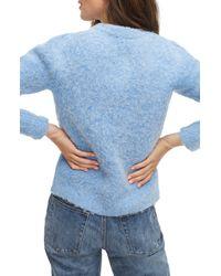 J.Crew Puff-sleeve Fuzzy Crewneck Sweater - Blue