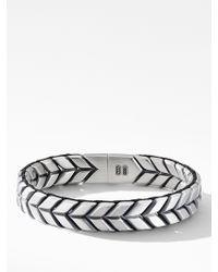 David Yurman Sterling Silver Chevron Woven Bracelet - Metallic