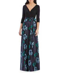 Alfred Sung - Faux Wrap Jersey & Brocade Gown - Lyst