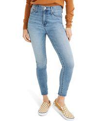 Madewell 10-inch High Waist Raw Hem Edition Skinny Jeans - Blue