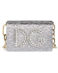 Dolce & Gabbana - Girls Crystal Logo Lame Shoulder Bag - Metallic - Lyst