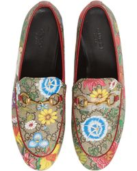 Gucci Jordaan Flat Floral Canvas Loafers - Multicolor