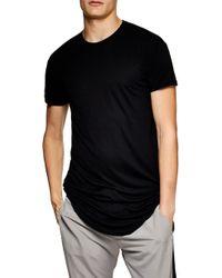 TOPMAN Scotty Longline T-shirt - Black
