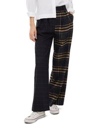 TOPSHOP - Sammy Mixed Check Wide Leg Trousers - Lyst