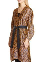 Zero + Maria Cornejo Curve Oki Cheetah Jacquard Coat - Brown