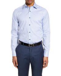 David Donahue Slim Fit Geo Floral Dress Shirt - Blue