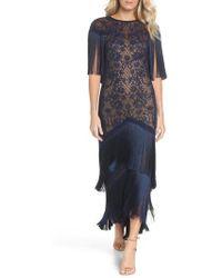 Tadashi Shoji - Embroidered Mesh & Fringe Gown - Lyst