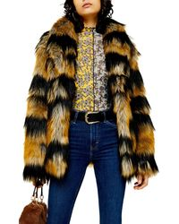 TOPSHOP Tiger Faux Fur Coat - Multicolour