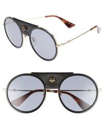 550bf7696f4 Balenciaga Leather-covered Aviator Sunglasses in Brown - Lyst