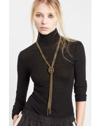 Lanvin - Loose Knot Brass Necklace - Lyst