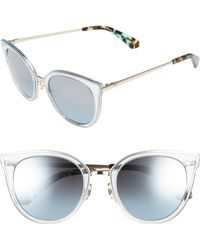 7a3f46906b Lyst - Kate Spade Norinas 50mm Cat Eye Sunglasses - Havana Blue in Blue