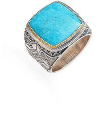 Konstantino Heonos Square Turquoise Ring - Blue