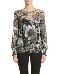 Fuzzi - Floral Print Tulle Blouson Top - Lyst