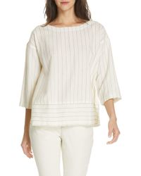 Eileen Fisher - Stripe Bateau Neck Top - Lyst