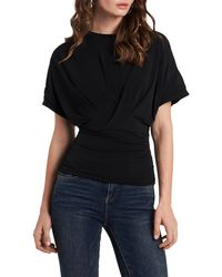 1.STATE Faux Wrap Top - Black