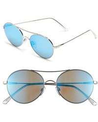 Electric - 'huxley' 53mm Round Sunglasses - Platinum/ Grey Blue Chrome - Lyst