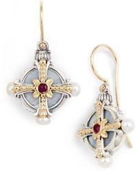 Konstantino Etched Silver Pearl & Ruby Drop Earrings - Metallic