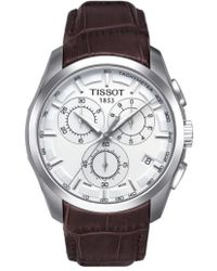 Tissot - Couturier Chronograph Leather Strap Watch - Lyst