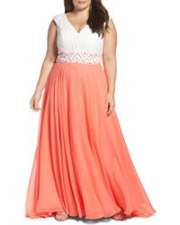 Mac Duggal - Colorblock Lace & Chiffon Gown - Lyst