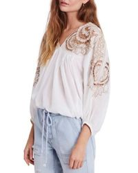Free People - Cutwork Dolman Blouse - Lyst