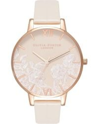 Olivia Burton - Lace Detail Faux Leather Strap Watch - Lyst