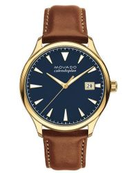 Movado - Heritage Calendoplan Leather Strap Watch - Lyst