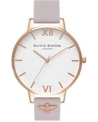 Olivia Burton - 3d Bee Leather Strap Watch - Lyst
