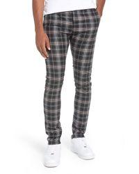 TOPMAN Skinny Fit Plaid Stretch Twill Pants - Gray