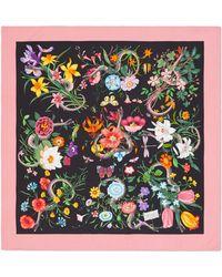 Gucci - Flora Snake Foulard Silk Twill Scarf - Lyst