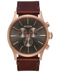 Nixon | The Sentry Chronograph Leather Strap Watch | Lyst