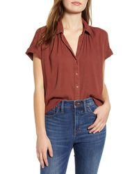 Caslon Caslon Woven Cotton Blend Camp Shirt - Multicolour