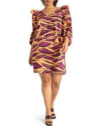 Eloquii Print Ruffle Puff Sleeve Shift Dress - Multicolour