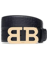 Bally - Stamped Logo Leather Belt - Lyst