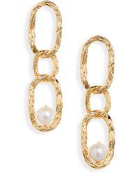 Lizzie Fortunato Vine Cultured Pearl Drop Earrings - Metallic