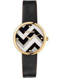 Missoni Multicolor Chevron Leather Strap Watch