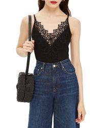 Lyst - Topshop Lace   Mesh Bodysuit in Black c837288a2