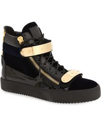 Giuseppe Zanotti - Gold Bar High Top Sneaker - Lyst