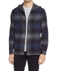 Vince - Ombré Plaid Flannel Hooded Button-up Shirt - Lyst