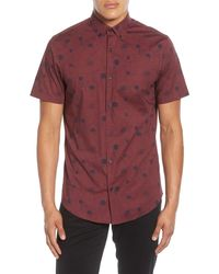 Calibrate Slim Fit Poppy Print Short Sleeve Button-down Sport Shirt - Red