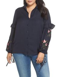 Lost Ink - Embroidered Sleeve Button Down Shirt - Lyst