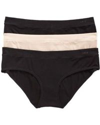 Naked - 3-pack Stretch Modal Hipster Panty, Black - Lyst