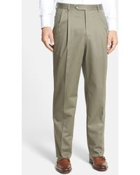 Berle - Pleated Cotton Trousers - Lyst
