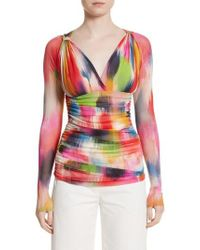Fuzzi - Brushstroke Print Ruched Tulle Top - Lyst
