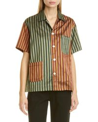 Bode - Louie Two-tone Silk Shirt - Lyst