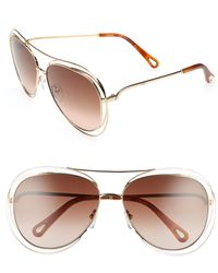 Chloé - Chloé 61mm Aviator Sunglasses - Lyst