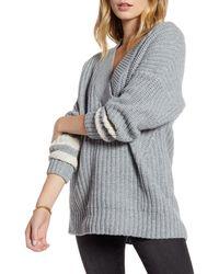 Treasure & Bond Stripe Sleeve Oversize V-neck Sweater - Gray
