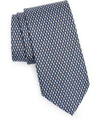 Ferragamo Football Print Silk Tie - Blue